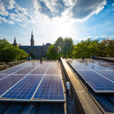 Image of Georgetown University with solar panels