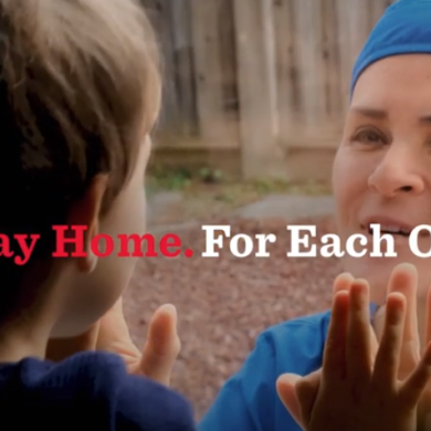 Dove commercial still shot of a mother and son reuniting through a window