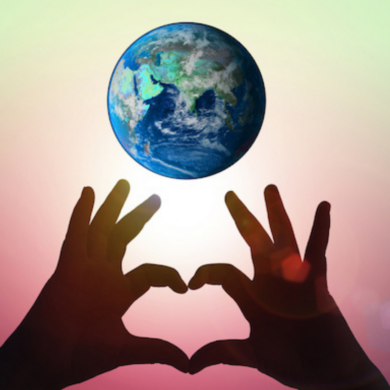Image for Young Up Starts article - hands in the shape of a heart with the earth above
