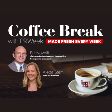 Graphic of Coffee Break with PRWeek - Bill Novelli and Aleda Stam