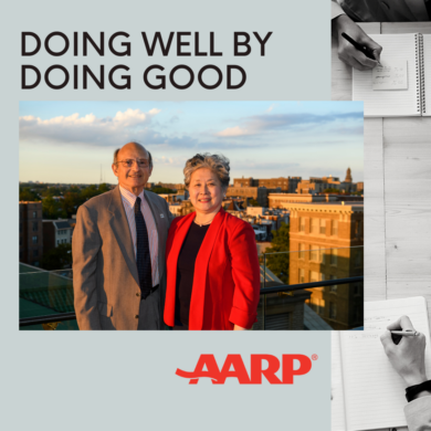 Image of Bill Novelli and former AARP employee promoting his article, Doing Well by Doing Good
