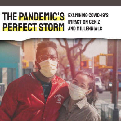 An image of two Millennials wearing masks during the COVID-19 pandemic.