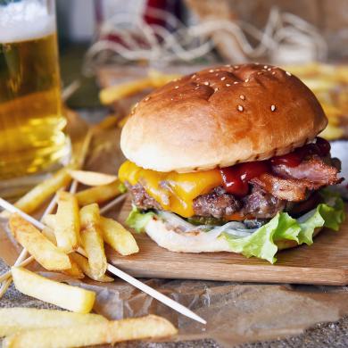 Stock image of a cheeseburger