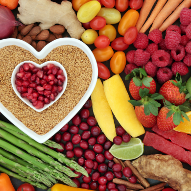 Stock image of food with a heart